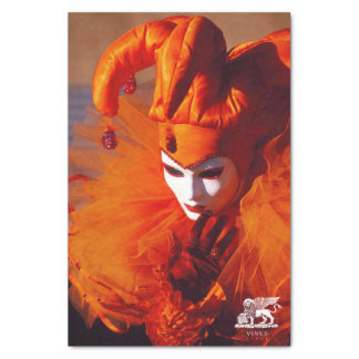 Venedig, Italien (IT) - orange Karnevals-Kostüm Seidenpapier