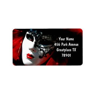 Venedig-Karnevals-bunte traditionelle rote Maske Adressaufkleber