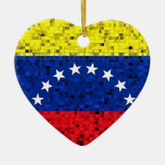 Venezuela-Flaggen-Glitterverzierung Keramik Herz-Ornament