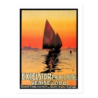 Venise/Segelboot-Sonnenuntergang Venedigs Italien Postkarte