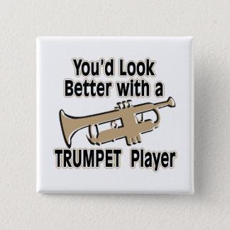 Verbessern Sie mit einem Trompeter Quadratischer Button 5,1 Cm