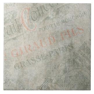 Verblaßte Vintage Pariser Anzeige-Papiercollage Große Quadratische Fliese