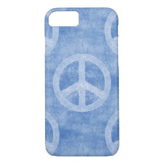 Verblaßtes blaues Friedenszeichen-Muster iPhone 7 Hülle