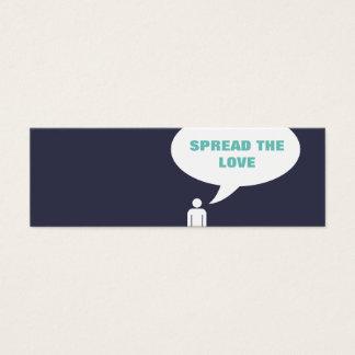 verbreiten Sie die Liebe-Comic-Blasenempfehlung Mini Visitenkarte