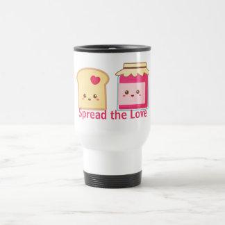 Verbreiten Sie die Liebe mit niedlichem Toast und Reisebecher
