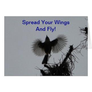 Verbreiten Sie Ihre Flügel und Fliege, büscheligen Karte