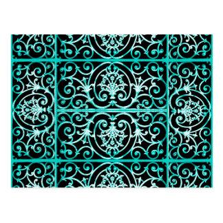 Verdigris und schwarzes scrollwork Muster Postkarte