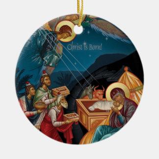 Verehrung der Weise-Weihnachtsverzierung Rundes Keramik Ornament