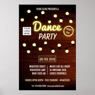 Verein-Diskjockey-Tanzmusik-Party addieren Logo Poster
