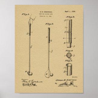 Verein-Griff-Patent-Kunst des Golf-1924, die Druck Poster