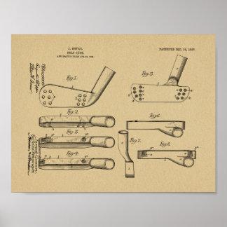 Verein-Kopf-Patent-Kunst des Golf-1907, die Druck Poster