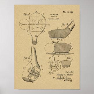 Verein-Kopf-Patent-Kunst des Golf-1928, die Druck Poster
