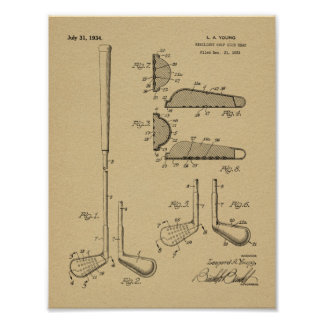 Verein-Kopf-Patent-Kunst des Golf-1934, die Druck Poster