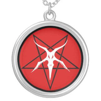Vereinfachter Baphomet Pentagram Versilberte Kette