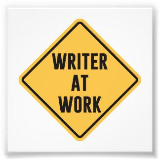 Verfasser an Arbeits-Arbeitsvorsicht-Zeichen Kunst Photo