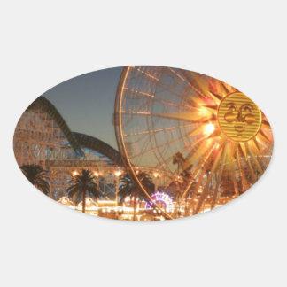 Vergnügungspark-Lichter Ovaler Aufkleber