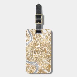 Vergoldete Stadt-Karte von Rom Kofferanhänger