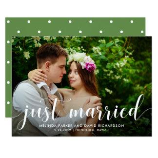 Verheiratete Foto-Mitteilung des Chic-Grün-| 12,7 X 17,8 Cm Einladungskarte