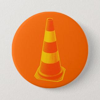 Verkehrs-Kegel mit gelben Streifen Runder Button 7,6 Cm