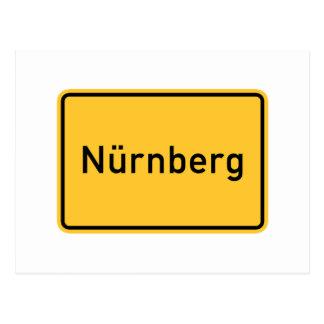 Verkehrsschild Nürnbergs, Deutschland Postkarte