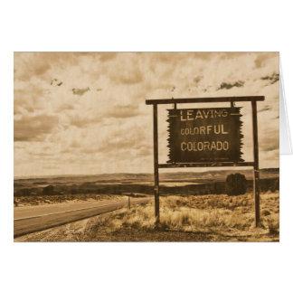 Verlassen von buntem Colorado Mitteilungskarte