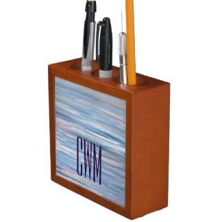 Verletzbares Monogramm-blaues Pfirsich-Silber | Stifthalter