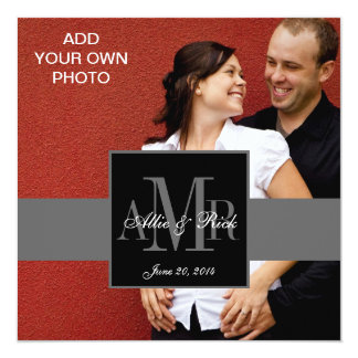 Verlobungs-Foto-Hochzeits-Einladungs-Monogramme Quadratische 13,3 Cm Einladungskarte