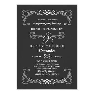 Verlobungs-Party Einladungs-Kunst-Deko-Silber 12,7 X 17,8 Cm Einladungskarte