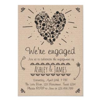 Verlobungs-Party Einladungs-rustikale 12,7 X 17,8 Cm Einladungskarte