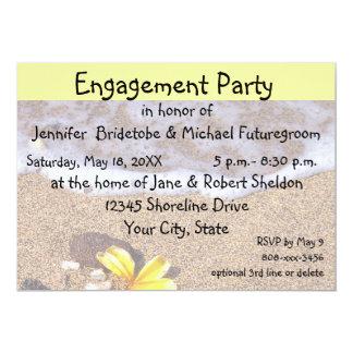 Verlobungs-Party-GelbPlumeria auf Strand 12,7 X 17,8 Cm Einladungskarte