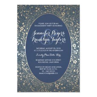 Verlobungs-Party-GoldVintage mit Blumenmarine 12,7 X 17,8 Cm Einladungskarte
