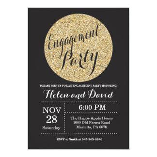 Verlobungs-Party-Schwarzes und 12,7 X 17,8 Cm Einladungskarte