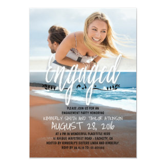 Verlobungs-Party-verlobter Foto-Strand 12,7 X 17,8 Cm Einladungskarte