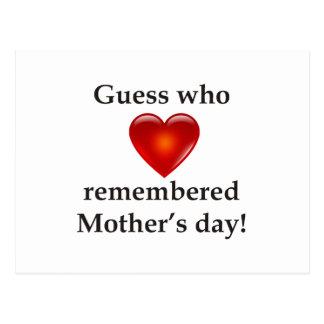 Vermutung, die an Muttertag sich erinnerte Postkarte