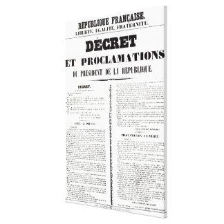 Verordnung u. Proklamation durch Napoleon Bonapart Gespannte Galerie Drucke