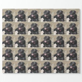 Verpackungspapier mit schwarzem Labrador-Foto Geschenkpapier