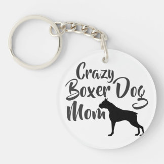 Verrückte Boxer-Hundemamma Schlüsselanhänger