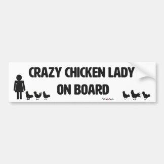 Verrückte Huhn-Dame Autoaufkleber
