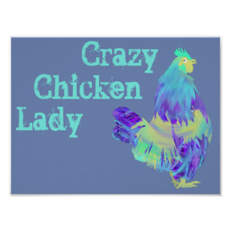 Verrückte Huhn-Dame Funny Quirky Colourful Art Poster