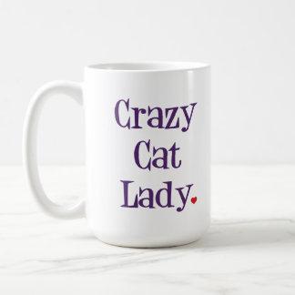 Verrückte Katzen-Dame Mug Tasse