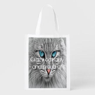 Verrückte Katzendame, kundenspezifisches Wiederverwendbare Einkaufstasche