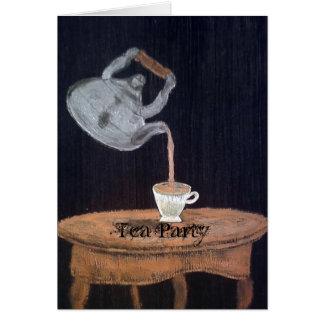 Verschobenes Teekanne-Tee-Party Grußkarte