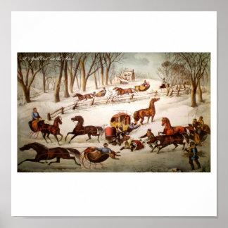Verschütten heraus auf dem Schnee-Plakat Poster
