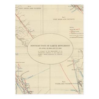 Verteilung der Erdbewegung in Kalifornien Postkarte