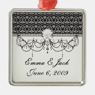 verwickelter Schwarzweiss-Damast Silbernes Ornament