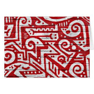 Verwickeltes Wandgemälde in Rotem und in weißem Karte