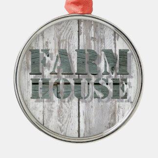 verwittertes Western-Landbauernhaus der Scheune Rundes Silberfarbenes Ornament