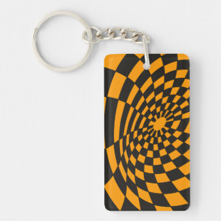 Verworfenes gelbes und schwarzes Schachbrett Schlüsselanhänger