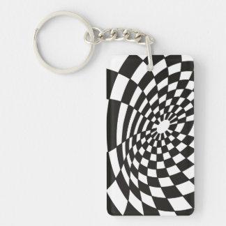 Verworfenes Schachbrett in Schwarzweiss Schlüsselanhänger