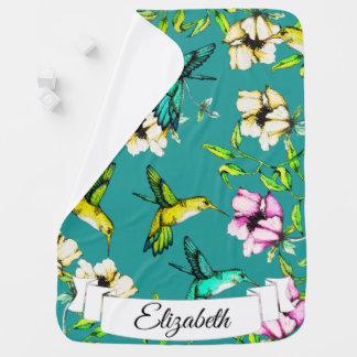 Verzauberte Gartenwatercolor-Kolibris u. Blumen Kinderwagendecke